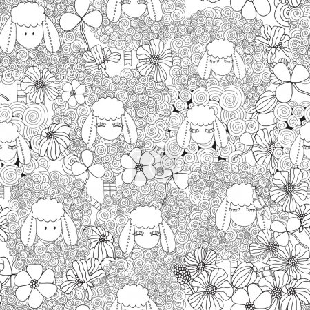 Seamless pattern wit ornamental sheeps