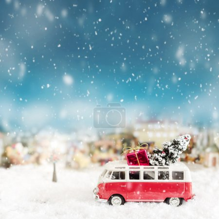 Toy bus - Christmas card