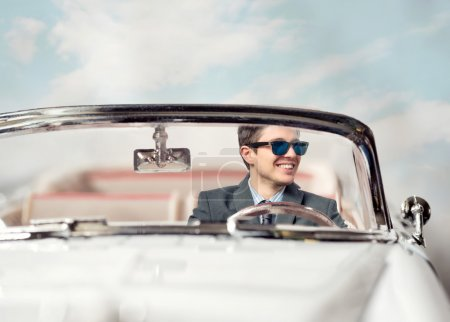 Young man in a car