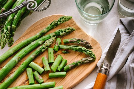 Green asparagus on board