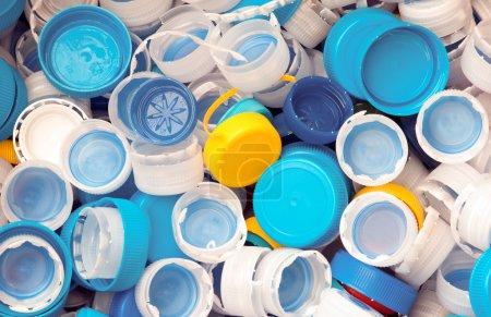 Plastic caps. view