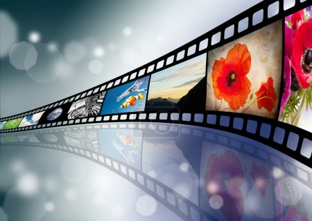 Photo for Film strip background with shots - Royalty Free Image