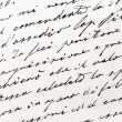 Old handwriting close up view...