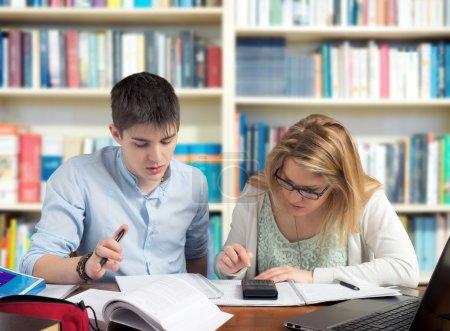 Students solving tasks