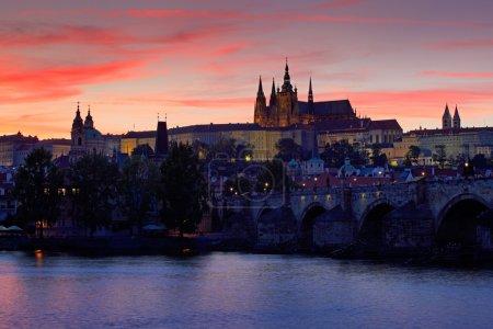 The Prague Castle after sunset