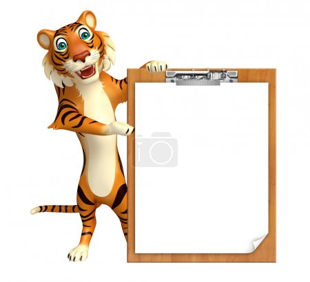 Tiger cartoon character with exam pad