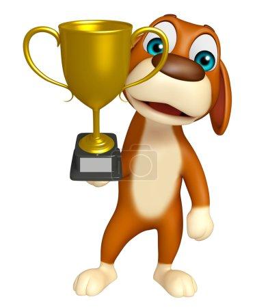cuteDog cartoon character  with winning cup