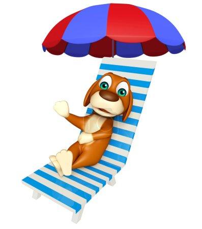 fun Dog cartoon character  with beach chair
