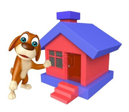 Fun Dog cartoon character  with hom