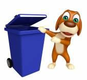 Cute Dog cartoon character  with dustbin