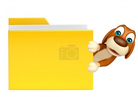 cute Dog cartoon character  with folder