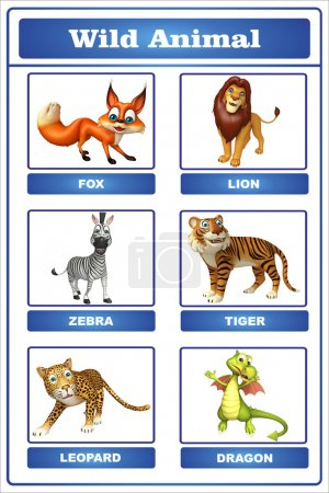 3d rendered illustration of wild animal chart...
