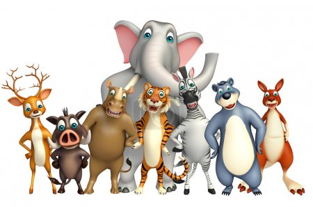 3d rendered illustration of wild animal collection...