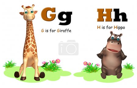 Giraffe and Hippo with Alphabate