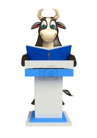 Bull cartoon character with speech table  and book