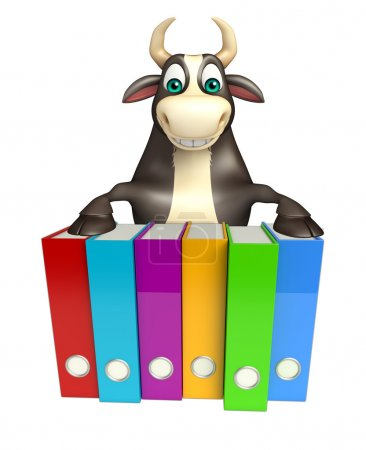 Bull cartoon character with files