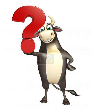 Bull cartoon character with question mark sign