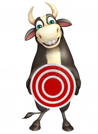 Bull cartoon character  with target sign