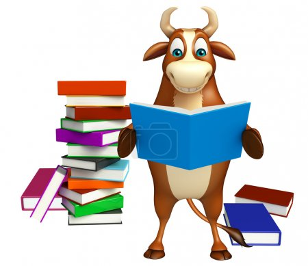 cute Bull cartoon character with book stack