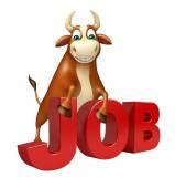 Cute Bull cartoon character with job sign
