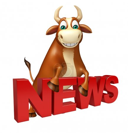 Bull cartoon character with news sign
