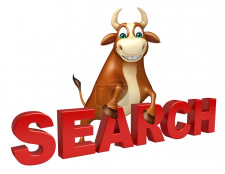 cute Bull cartoon character with search sign