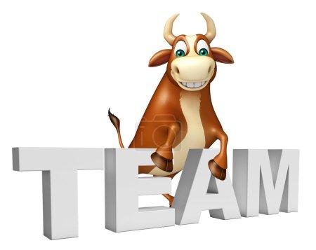 cute Bull cartoon character with team