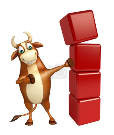 Bull cartoon character with level