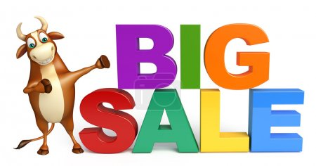 Bull cartoon character with big sale sign