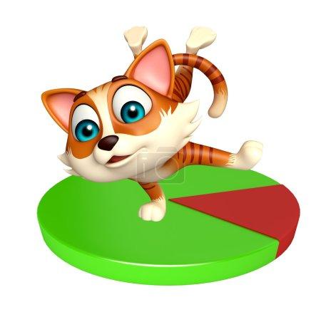 Fun cat cartoon character with circle sign