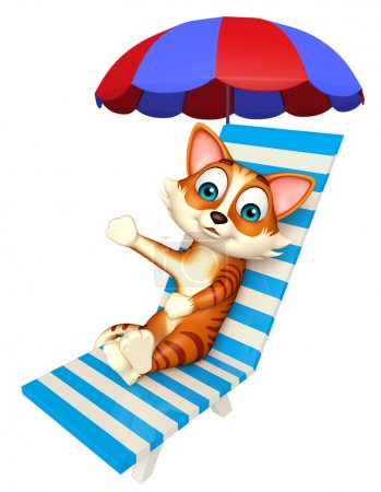 fun cat cartoon character with beach chair