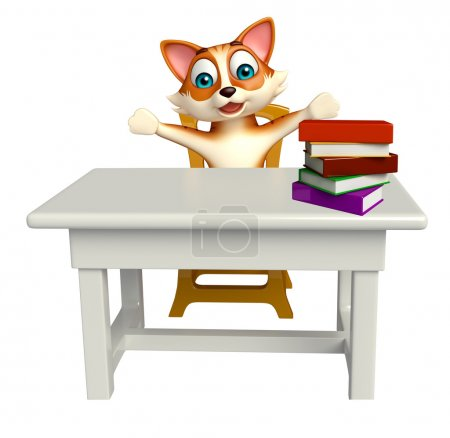 cat cartoon character with table and chair