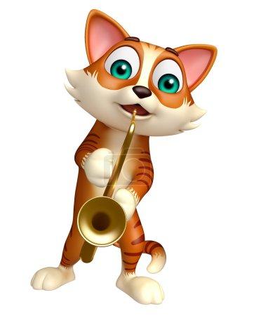 fun cat cartoon character with saxophone