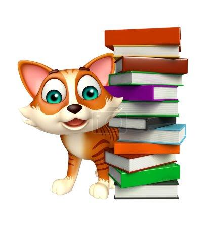Cute  cat cartoon character book stack