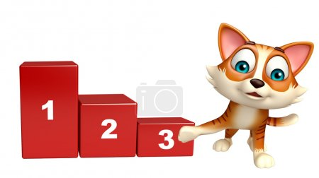 fun cat cartoon character with level