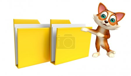 fun cat cartoon character with folder