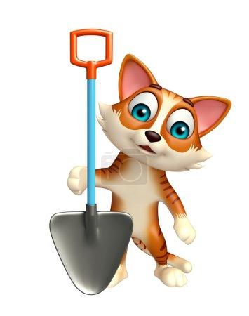 Cat cartoon character with digging shovel