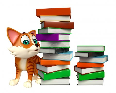 Photo for 3d rendered illustration of cat cartoon character book stack - Royalty Free Image