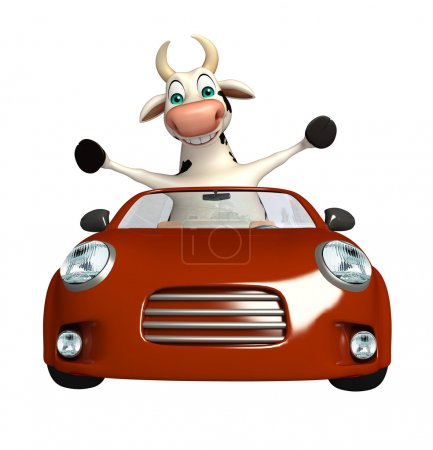 Cute Cow cartoon character with car