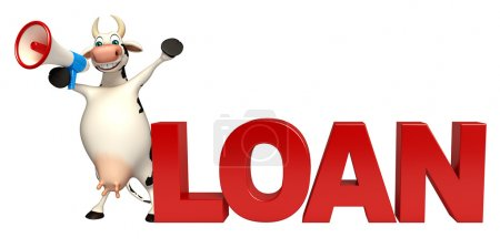 fun Cow cartoon character with loudspeaker and loan