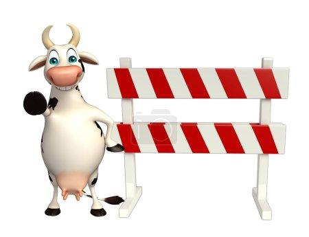 cute Cow cartoon character with baracades
