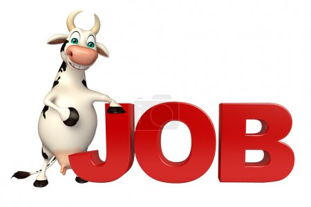 Fun Cow cartoon character with job sign