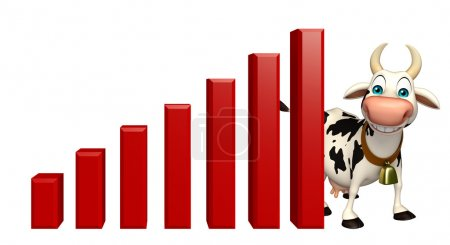 Cute Cow cartoon character with graph