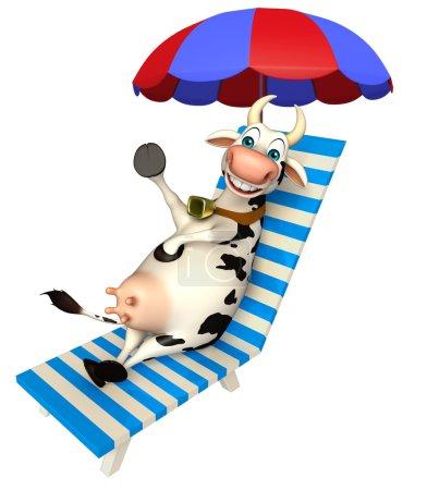 fun Cow cartoon character with beach chair