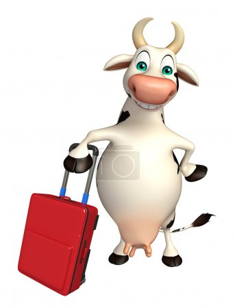 Cow cartoon character with travel bag