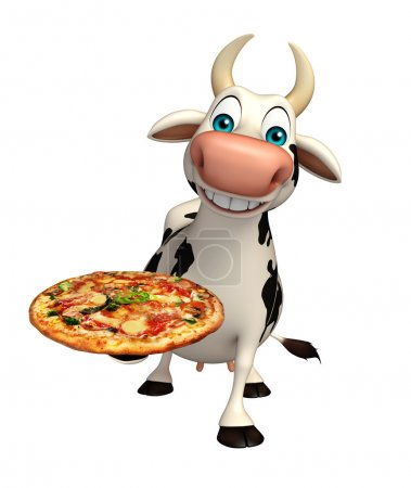 cute Cow cartoon character with pizza