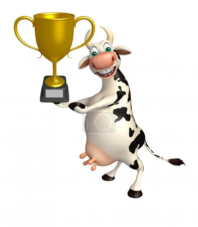Cow cartoon character with winning cup
