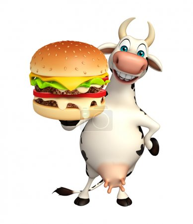 Cow cartoon character with burger