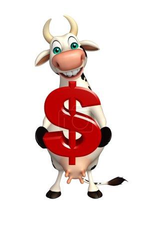 Photo pour Illustration en 3D du personnage de dessin animé de la vache avec signe de la poupée - image libre de droit