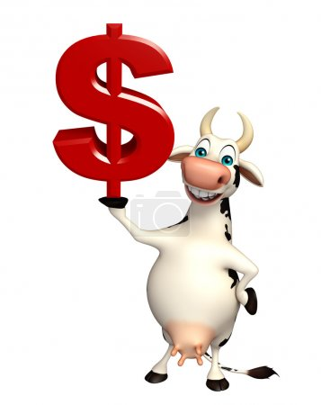 Cow cartoon character with doller sign